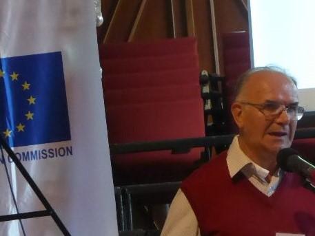 Angelo Levati durante un suo intervento al convegno internazionale sul lavoro nel 2016 , a Velehrad , in Cechia.